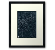 Woodland ferns acrylic plate etching, white ink on black paper Framed Print