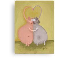 elephants kissing Canvas Print