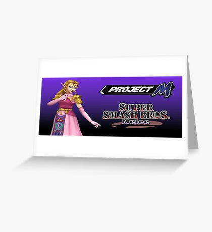 Zelda with Melee and Project M logos Greeting Card
