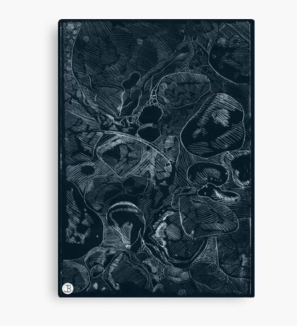 Woodland stones acrylic plate etching, white ink on black paper Canvas Print