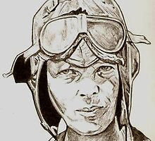 Amelia Earhart drawing by RobCrandall