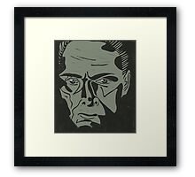 Lionel Atwell as Moriarty from Doctor Who, linocut Framed Print