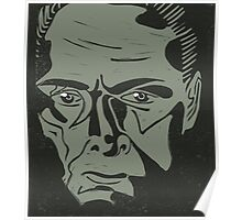 Lionel Atwell as Moriarty from Doctor Who, linocut Poster
