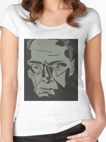 Lionel Atwell as Moriarty from Doctor Who, linocut Women's Fitted Scoop T-Shirt