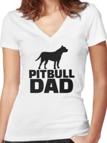 Pitbull Dad Women's Fitted V-Neck T-Shirt