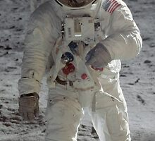 Apollo 11 A7L space suit worn by BUZZ ALDRIN. Aldrin standing on moon. Neil Armstrong and Eagle reflected in his visor, 20 July 1969. by NASA by Adam Asar