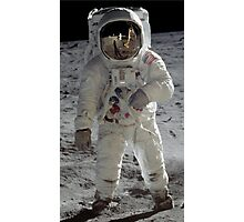 Apollo 11 A7L space suit worn by BUZZ ALDRIN. Aldrin standing on moon. Neil Armstrong and Eagle reflected in his visor, 20 July 1969. by NASA Photographic Print