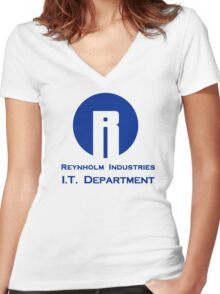The I.T. Crowd Reynholm Industries Women's Fitted V-Neck T-Shirt