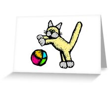 Cat Playing With Ball Greeting Card