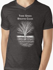 Tree Shirt (White Text/Image) Mens V-Neck T-Shirt