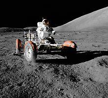 Gene Cernan aboard the Lunar Rover during the first EVA of Apollo 17  by NASA by Adam Asar