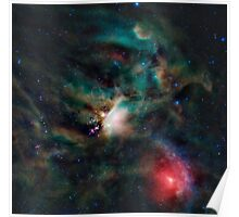 Infrared light veiw of Rho Ophiuchimolecular cloud complex (By NASA) Poster