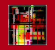 RED, YELLOW, GREEN, BLACK modern abstract ART by ackelly4