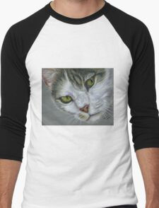 Tara - White and Tabby Cat Painting Men's Baseball ¾ T-Shirt