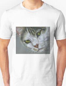 Tara - White and Tabby Cat Painting T-Shirt