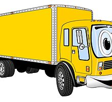 Large Yellow Delivery Truck Cartoon by Graphxpro