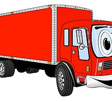 Large Red Delivery Truck Cartoon by Graphxpro