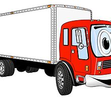 Large Red White Delivery Truck Cartoon by Graphxpro