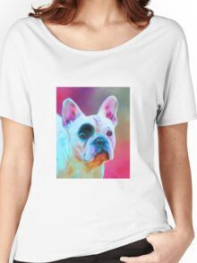 Paris French Bulldog Portrait Painting Women's Relaxed Fit T-Shirt