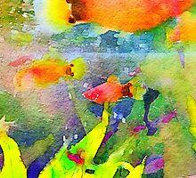 Abstract Goldfish Aquarium Watercolor 1 by Beverly Claire Kaiya