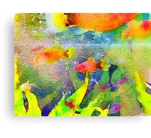 Abstract Goldfish Aquarium Watercolor 1 Canvas Print
