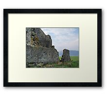 "ruins at Stanley with the ""Nut"" (Circular Head) in background  Framed Print"