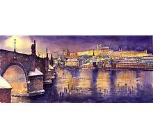 Prague Charles Bridge and Prague Castle with the Vltava River Photographic Print
