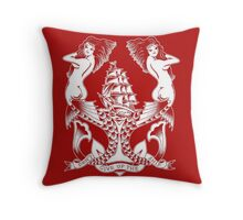 Don't Give Up the Ship mermaid tattoo design Throw Pillow