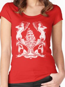 Don't Give Up the Ship mermaid tattoo design Women's Fitted Scoop T-Shirt