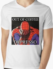 Depressed Spiderman Mens V-Neck T-Shirt
