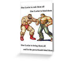 Zangief and Haggar, powerbombs and lariats Greeting Card
