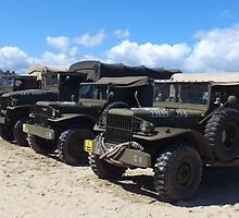 Army Trucks on The Beach by BrixhamArt