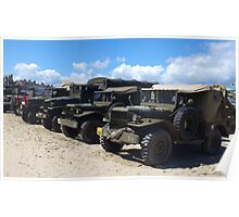 Army Trucks on The Beach Poster