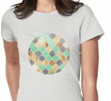 Charcoal, Mint, Wood & Gold Moroccan Pattern Womens Fitted T-Shirt