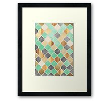 Charcoal, Mint, Wood & Gold Moroccan Pattern Framed Print