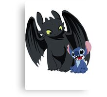 Stitch and Toothless Canvas Print
