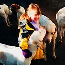 Child with hounds by Barry Thomas