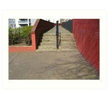 Red Wall Steps Art Print