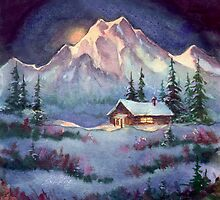 WINTER NIGHT LOG CABIN by SHARON SHARPE by sharonsharpe