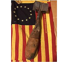 Old Flag and Bomb - State Pallets Photographic Print