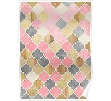 Silver Grey, Soft Pink, Wood & Gold Moroccan Pattern Poster