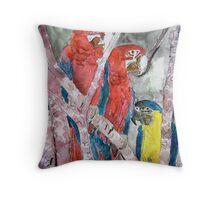 3 parrots wildlife bird tropical painting Throw Pillow