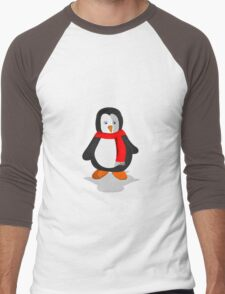 Penguin in the snow Men's Baseball ¾ T-Shirt