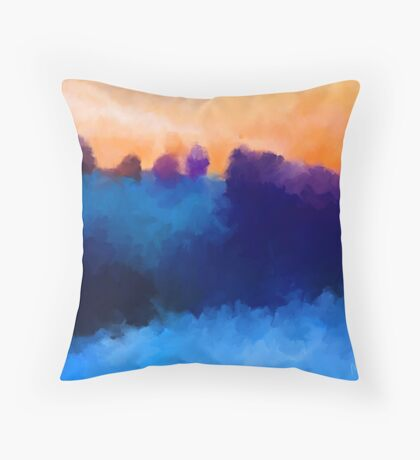 Ice, Mauve and Marmalade Abstract Landscape Throw Pillow