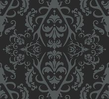 Stag Damask in Dark by mollylee