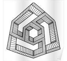 Perspective illusion cube Black and White Poster