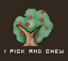 "Caveman Craig - ""I Pick and Chew"" Delicious Berry DARK COLOUR T-shirt. by Tim Andrews"