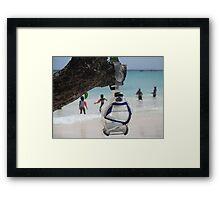 goggles on beach Framed Print