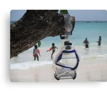 goggles on beach Canvas Print
