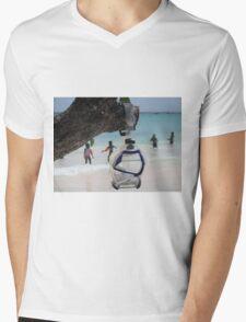 goggles on beach Mens V-Neck T-Shirt